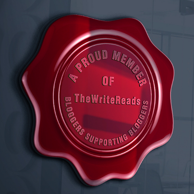 A faux wax seal which reads 'A Proud Member of The Write Reads Bloggers Supporting Bloggers""