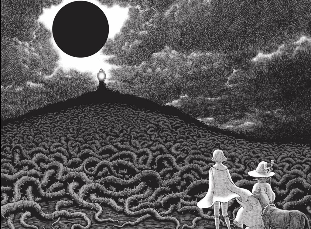 Two people standing at the foot of an abnormal-looking mountain with an eclipse in the sky.