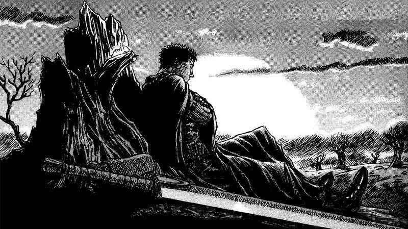Image of Guts sitting with his back against the scenery and his sword beside him.