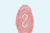 book cover with image of finger print with infinity symbol inside it